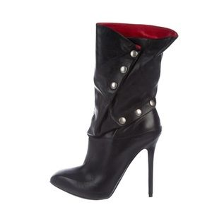 Alexander McQueen Leather Snap Mid-Calf Boots 9.5